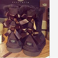UGG Bow Leather Cute Two Bowknot Boots Boots