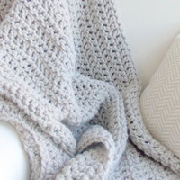 Chunky cozy knit crochet throw blanket . Linen . Choose your color