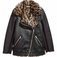 Oversized biker jacket - Black/Leopard print - Ladies | H&M GB
