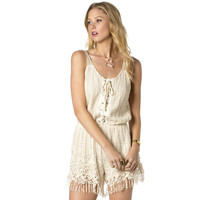 Miss Me Womens Knit Daydream Sleeveless Crochet Romper