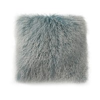 Lamb Fur Pillow Large Blue Snow Wool