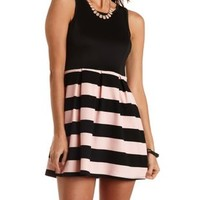 Black Combo Striped & Pleated Skater Dress by Charlotte Russe