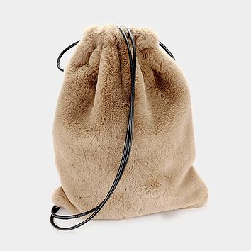 Furry Soft Faux Fur Drawstring Backpack Bag (Click For More Colors)