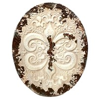 Distressed White & Blue Oval Metal Wall Plaque | Shop Hobby Lobby