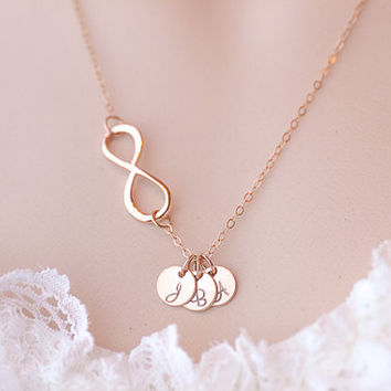 Personalized Infinity necklace. initials rose gold Necklace. three discs Jewelry. Mom,Sister,Wife,Bridesmaid Gift.