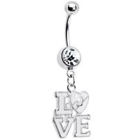 Clear Gem Dangling Love Belly Ring | Body Candy Body Jewelry