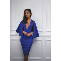 Royal Blue Deep VNeck Dress