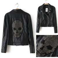 Black Sequin Skull Motorcycle Pu Leather Jacket