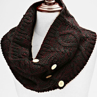 Knitted Button Infinity Scarf Plum Black