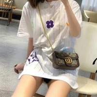 """LOUIS VUITTON"" Woman's Leisure  Fashion Letter Personality Stripe Printing   Velvet Short Sleeve Tops"