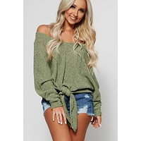 Come Together Front Tie Top (Olive)