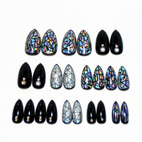 Holographic Gel Nails / Fake nails, glue on nails, press on nails, nail art, gift women, girlfriend, birthday, party, stiletto nails, formal