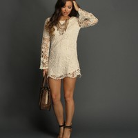 Promo-the Festival Ride Ivory Crochet Tunic