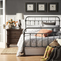 INSPIRE Q Giselle Dark Gray Graceful Lines Victorian Iron Metal Bed   Overstock.com Shopping - The Best Deals on Beds