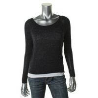 Eileen Fisher Womens Petites Knit Long Sleeves Pullover Sweater