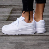 NIKE Air Force White Women Men Running Sport Casual Shoes Sneakers Air force White B