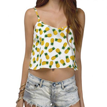 White Pineapple Print Cami Crop Top