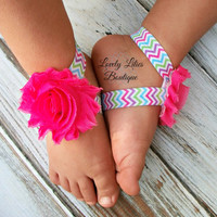 Baby Barefoot Sandals .. Hot Pink on Chevron .. Toddler Sandals .. Newborn Sandals .. Baby Flower Sandals