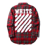 Off White Autumn And Winter New Fashion Letter Plaid Women Men Long Sleeve Top Coat  Red