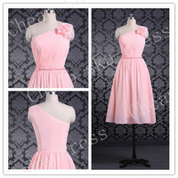 2014 A-line Chiffon Bridesmaid /Party / Evening /Prom / Formal Dresses Custom Made Handmade Flower One-shoulder Short New Design Dresses
