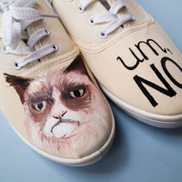 Hand painted shoes with Grumpy Cat. Perfect christmas gift idea for a cat lover. Unique painted sneakers.