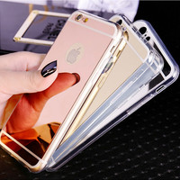 Fashion Luxury Ultra Slim Soft Case For Iphone 5S Clear Silicone Edge + Shinny Mirror Back Cover For Iphone 5 5S SE