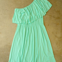 Sweet Ruffled Mint Dress [2694] - $32.00 : Vintage Inspired Clothing & Affordable Fall Frocks, deloom   Modern. Vintage. Crafted.