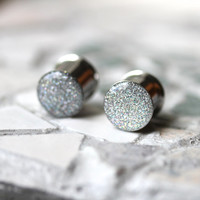 Silver Glitter Ear Plugs, Sparkly Silver Ear Gauges, Resin Gauges, Plugs for Women - sizes 0g, 00g, 7/16, 1/2, 9/16, 5/8, 3/4, 7/8, 1""