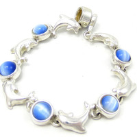 Blue Moonstone Cat Eye Dolphin Silver Tone Magnetic Bracelet 8 Inches Clasp Ocean Beach Vintage Costume Jewelry Fashion Accessory Summer