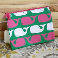 Whales Carry All Bag {Green + Pink}