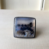 Beautiful, OOAK, Dendritic Agate Cabochon Ring, Oxidized Sterling Silver, Huge Statement Ring, Square Bezel, Right Hand Ring, Gemstone Ring