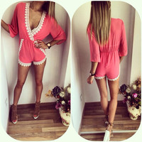 Rose Plunging Contrast Lace Trimmed Romper