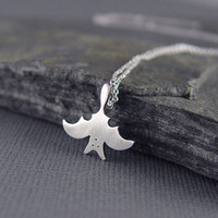 Silver Bat Pendant Free shipping by Hapagirls on Etsy