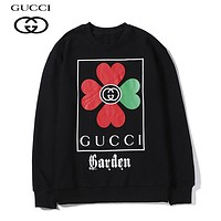 GUCCI casual four-leaf clover couple is selling round-collared, long-sleeved hoodies Black