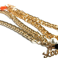 """""""No Hassle Tassel"""" Gold Link Chain Choker Necklace"""