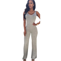 Strap Womens Long Jumpsuit Overalls Sleeveless Bodysuit Black Hollow Out Backless Jumpsuit Grey Women Femme Rompers Summer