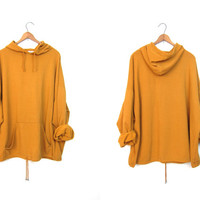 Oversized Golden Rod Yellow Pullover Sweatshirt 80s Boho Slouchy Hooded Jumper with Kangaroo Pouch Womens Hipster Hoodie DELLS Plus Size XXL