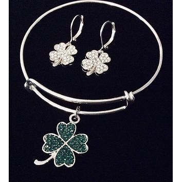 Saint Patrick's Day Jewelry Expandable Charm Bracelet Silver Adjustable Bangle One Size Fits All Gift Free Earrings!