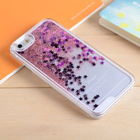 Pink Star Dynamic Liquid Glitter Sand Quicksand Star Bling Clear iPhone 5/5S Phone Case