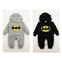 Hot Fashion Newborn Boys Baby Clothes Batman Hoodies Infant Romper Bodysuit Clothes 3-24Months [9305917063]