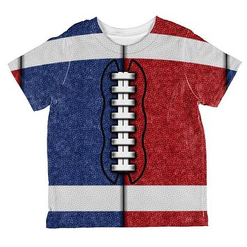 Fantasy Football Team Blue and Red All Over Toddler T Shirt