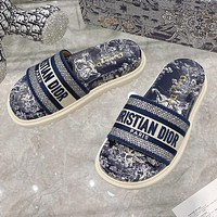 Dior early spring new jacquard embroidery sandals Shoes Blue