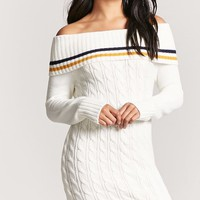 Multistripe Off-the-Shoulder Cable-Knit Sweater