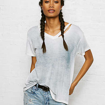 Don't Ask Why Drapey V-Neck T-Shirt, Ice Blue