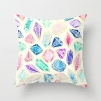 Watercolor Gems Intense Throw Pillow by Tangerine-Tane | Society6