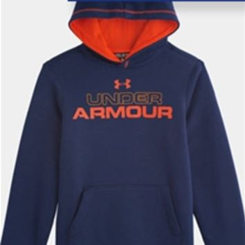 Under Armour Rival Graphic Pullover Hoodie in Navy for Boys 1249290-40