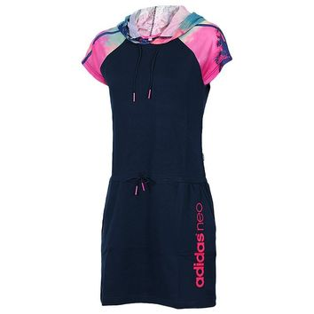 """Trend """"Adidas"""" Movement Leisure Jogging Hooded In The long Section Short Sleeve Dress"""