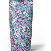 Seamless Mint and Pink Sprout Yeti Rambler Skin Kit