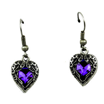 Fallen Dark Angel Wings & Purple Heart Gothic Earrings Cosplay