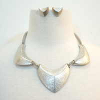 Fossil Dimpled Necklace & Earrings Set Silver Ed.